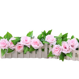 China 1Pc Silk Rose Vine Realistic Hanging Garland With Leaves Artificial Flowers Plants For Hotel Wedding Home Party Garden Craft Art cheap hotels garland suppliers