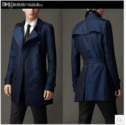 Wholesale mens belted trench coat for sale - Group buy Fall Blue khaki double breasted long black trench coat men british style trench coat pea coat men cheap mens winter coats belt xl