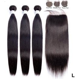long straight weave bundles NZ - 3 Bundles with Closure Straight Human Hair with Closure Maxine Remy Weave 8-30 inch Bundles Low Ratio Longest Hair