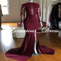 robe soiree longue sexy NZ - New Design Costom Prom Dresses Long Sleeve 2019 Women Mermaid Lace Slit Sexy Evening Wear Gowns Party Dresses Burgundy Robe Longue Soiree