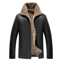 leather bomber jacket men fur NZ - Thick fleece leather jacket for men warm motorcycle pu coat with faux fur shearling bomber jacket stand collar winter coat