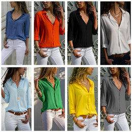 Wholesale v neck t shirts female for sale – custom Fashion Women Blouse Long Sleeve V neck T Shirt Solid Color Button Chiffon Blouses Turn down Collar Shirts Tops Female Design Top Clothes