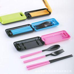 Spoon Forks Kids Australia - 1set Portable Colorful Dinnerware Korean Style Folding Cutlery Fork Set For Kids Outdoor Picnic Travel Tableware C19041901