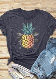 Wholesale tee pineapple online – design New Women T Shirt Dark Grey Pineapple Print O Neck Short Sleeve T Shirt Summer Female t shirt Fashion Ladies Tops Tee