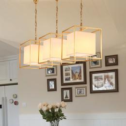$enCountryForm.capitalKeyWord Australia - European American golden square cube copper brass LED pendant lamp light fabric square frame modern LED hanging chain light lamp
