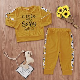 $enCountryForm.capitalKeyWord Australia - Girls Long Sleeves Letter Tops+Pants Suits Fall 2019 Kids Boutique Clothing Euro America Toddlers Little Girls Casual 2 PC Set