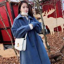cd46832fb87 Fall and Winter 2018 New Korean Version Loose Retro Wool Coat Women s Mid-long  Knee-length Cotton Wool Coat
