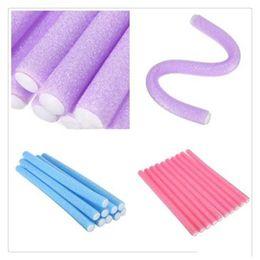 Flexi Hair Australia - Wholesale Magic Hair Roller Curlers Hair Curling Curler Soft Foam Bendy Twist Magic Flexi Rods DIY Styling Hair Sticks Tool Free Shipping
