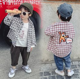 cartoon kids wear 2019 - Boys plaid shirt kids cartoon letter printed out wear shirt children lapel long sleeve lattice cardigan 2019 spring boy