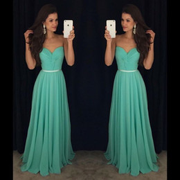Discount deep sweetheart neckline mermaid - Pleated Chiffon Prom Bridesmaid Dresses Long Cheap Strapless Sweetheart Neckline Belt Formal Evening Gowns Cocktail Part