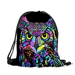 4a28bdbd50 Sac A Dos Unisexe Polyester Drawstring Bags Animal Owl Wolf Horse Tiger  Printing Backpacks College Students Storage Package