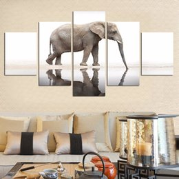 Art Canvas Prints Australia - Painting Frame Art Poster Wall Picture Home Decor 5 Panel Animal Elephant Printed On Canvas For Living Room Modern Printing Type