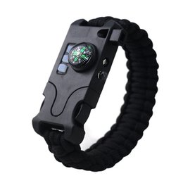$enCountryForm.capitalKeyWord Australia - Outdoor Survival Mens Wristband Bracelet Laser Flashlight Help Light Compass Whistle Take Card Needle Parachute Cord Rope 7-in-1