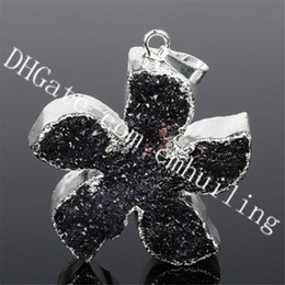 $enCountryForm.capitalKeyWord Australia - 10Pcs 37*32mm Star Silver Plated Black Agate Druzy Drusy Crystal Pendant Five-pointed Star Shape Raw Black Quartz Geode Stone Charm Pendant