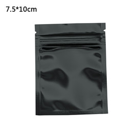 Snack Pack Wholesale Australia - Wholesale 100pcs lot 7.5x10cm Black Reclosable Mylar Packing Bag Heat Sealable Aluminum Foil Zip Lock Snacks Food Grade Packing Bag Pouch