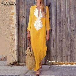 851802c79a Zanzea Women Vintage Paisley Deep V Neck Sleeve Maxi Long Dress Autumn Casual  Kaftan Cotton Linen Vestido Plus Size Q190513