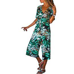 Hooded Jumpsuit Green Australia - Women Ladies V-neck Bandage Lace Up Flower Print Cropped Pants Jumpsuit Overalls For Women Romper T3190605