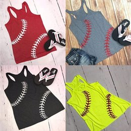 Plus size beach toPs online shopping - 2019 Summer Women Baseball Printed Tops Sports Tanks Sleeveless T Shirts Vest Beach Camis Softball t shirts Women Vest Plus size C6766