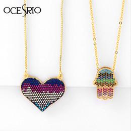$enCountryForm.capitalKeyWord Australia - OCESRIO Bohemia Gold Hamsa Pendant Necklace Cubic Zirconia Love Heart Charm Pendant Necklace Fashion Jewelry nke-p18