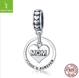 Sterling Silver Pendant Charms Australia - Authentic 925 Sterling Silver Mom Love Gift Dangle Ball Charm Pendant fit Women Charm Bracelet & Necklaces Jewelry Mother's Day