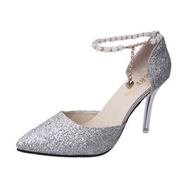 Buckle Women Shoes Australia - Dress Shoes Fashion Women Pointed Toe Sexy One Word Buckle Fine High Heel Sandals Sequins Stiletto Spring Autumn Casual