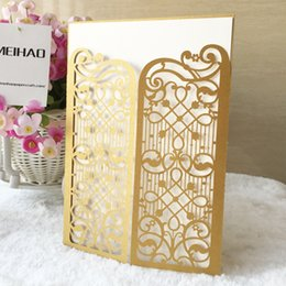 castle wedding invitation cards UK - Glory gold castle gate hollow out metal pearl paper envelop beach wedding invitation pocket card birthday party Dinner free shipping