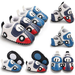 muscle cars NZ - 3 Pcs Mix Newest Infant Baby Boy Girl Cartoon Car Leather Soft Sole Crib Newborn Non-slip Shoes Sneaker 0-12 Months First Walkers Wholesale