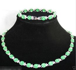 $enCountryForm.capitalKeyWord Australia - real silver-jewelry Wedding Jewelry Design Green Round Coin GEM Silver Bracelet & Necklace sets silver-jewelry
