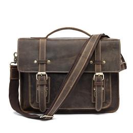 Genuine Leather Handles Australia - Horse Business Briefcases Genuine Leather Men Bag Soft Handle Zipper Solid Vintage Laptop Bag For Men Mens Bags Briefcase #630480