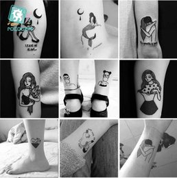 65b021907 CC Set Different Black White Small Tattoo Dark series girl Design Unique Temporary  Tattoo Sticker Body Art Fake Hands Tatoo