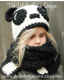 children christmas scarves Australia - Autumn Winter European And American Cartoon Hat Set National Treasure Panda Child Hat Long Scarf Handmade Knit Hat