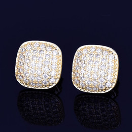 gold iced out NZ - New Gold Star Hip Hop Jewelry 10mm Square Stud Earring Ice Out CZ Stone Rock Street Three Colors