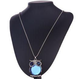 $enCountryForm.capitalKeyWord Australia - Owl Pendants Crystal Jewelry Women Necklace Silver Chain Long Necklaces