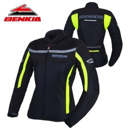 pink motorcycle jackets Australia - BENKIA Motorcycle Jacket Motocross Racing Suits Denim Jacket For Women Breathable Mesh Riding Clothes Jaqueta Motoqueiro JW-W32