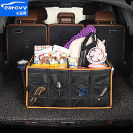 Trunk Storage Box Australia - Waterproof Car trunk storage organizer box foldable Oxford cloth car storage bag with lip cover tidy bin containers