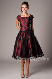 Short Red Lace Prom Vintage Dress Australia - Black And Red Vintage Lace Short Modest Prom Dresses With Cap Sleeves A-line Knee Length Short Prom Cocktail Dress Lace-Up Back Custom Made