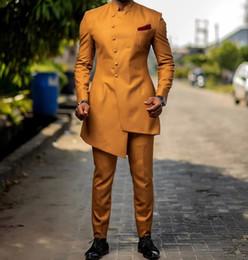 Mandarin Suit Tie Australia - Popular Single breasted Groomsmen Mandarin Lapel (Jacket+Pants+Tie) Groom Tuxedos Groomsmen Best Man Suit Mens Wedding Suits Bridegroom A288
