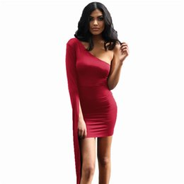f81252cd263 Lace Up Party Mini Dress Women Red One Shoulder Long Sleeve Elegant Bodycon  Dresses Sexy Club Wear Solid Color Bandage Dress Vestidos