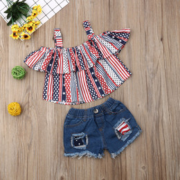 $enCountryForm.capitalKeyWord Australia - Toddler Baby Girl Outfits Clothes Striped T-shirt Tops+Denim Shorts Pants Set