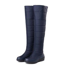62640263d Coxa Botas Altas Botas de Inverno Feminino Mulheres Sobre o Joelho das  Mulheres Plana Dedo Do Pé Redondo Fur Para Baixo Sapatos de Neve À Prova D  'Água 2018 ...