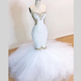 cheap white tulle dresses Australia - White Mermaid Wedding Dresses Sweetheart Gold Appliques Lace Spring Summer Wedding Gowns Sleevelss Tulle Ruffles Train Bridal Gowns Cheap