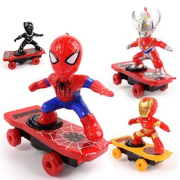 Spiderman figureS online shopping - Children Stunt Scooter Toy SpiderMan Black Panther Iron Man Captain America Electronic Toy Cartoon Action Figure With Music Light