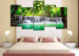 $enCountryForm.capitalKeyWord Australia - Green Tropical Waterfall ,5 Pieces Home Decor HD Printed Modern Art Painting on Canvas (Unframed Framed)