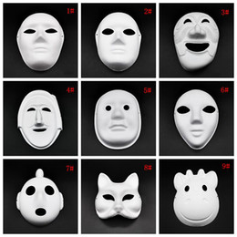 plain face mask painting NZ - Halloween Full Face Masks DIY Hand-Painted Pulp Plaster Covered Paper Mache Blank Mask White Masquerade Masks Plain Party Mask DBC VT1088