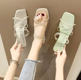 $enCountryForm.capitalKeyWord Australia - Designer shoes ,Web celebrity thick with slippers new transparent diamond cross strap, two wear fashion sandals slippers f1.8