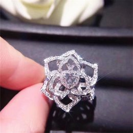 white china rose flower Australia - Sparkling Handmade Luxury Jewelry 925 Sterling Silver Round Cut White Topaz CZ Diamond Promise Party Women Wedding Rose Flower Band Ring