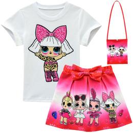 $enCountryForm.capitalKeyWord Australia - Surprise Girls Suits 3-10Y Kids Outfits T shirt+skirt+bag 3pcs Set Children Short Dress Top Tee Set INS Baby Summer Clothing 15 Style B73003
