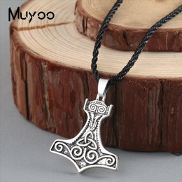 silver hammer Australia - 2019 New Nordic Men's Viking Pendant Necklace Personality Odin's Ravens of Thor's Hammer Vintage Antique Silver Pendants