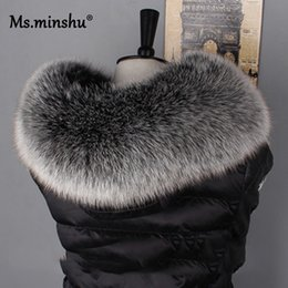 red fox fur scarf Australia - Ms.MinShu For Natural Hood Scarf Big 100% Real Fox Fur Collar Trim Custom Made Y200103