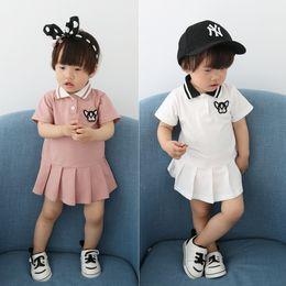 $enCountryForm.capitalKeyWord NZ - 2019 Summer New Girl Korean Style Short Sleeves Mini Dress Kid One-Piece Girls Preppy Style Children Clothing Turn-down Collar Ruffled Skirt